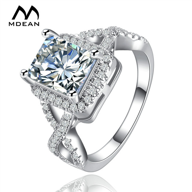 MDEAN White Gold Color Rings for Women Wedding Ring Women Rings Clear AAA Zircon Jewelry Fashion Ring Size 5-12 MSR136 4