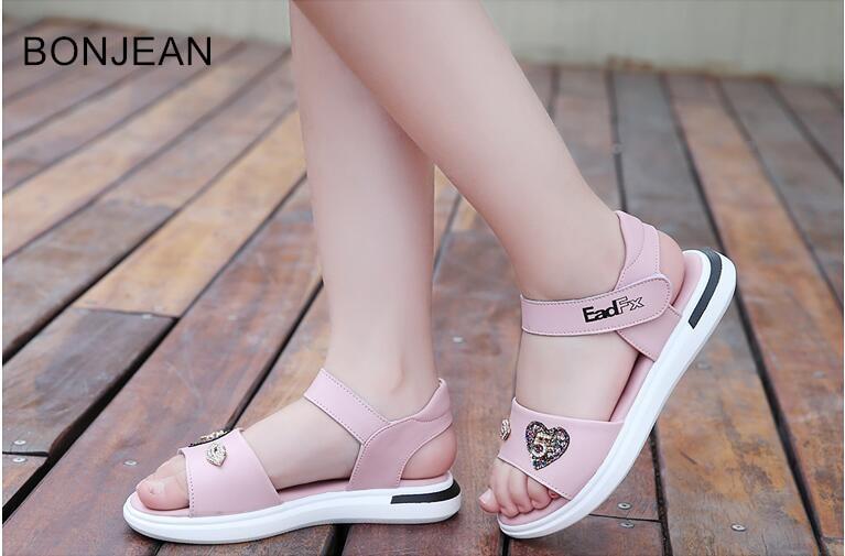 2019 été enfants chaussures filles princesse chaussures décontractées étudiant chaussures mignon grands enfants chaussure mq36 en cuir filles sandales