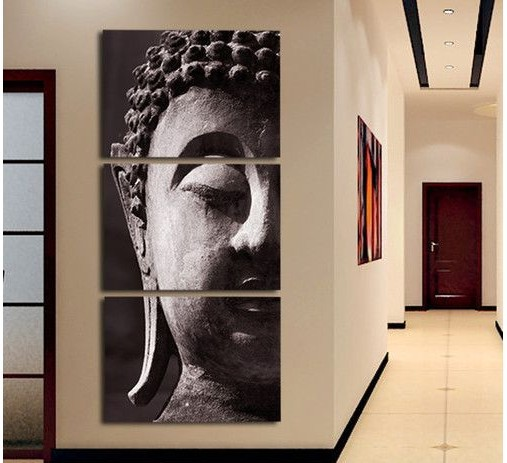 3 Panel Wall Art Religion Buddha Oil Style Painting On Canvas No Framed Room Panels For Home Modern Decoration Art Print Picture