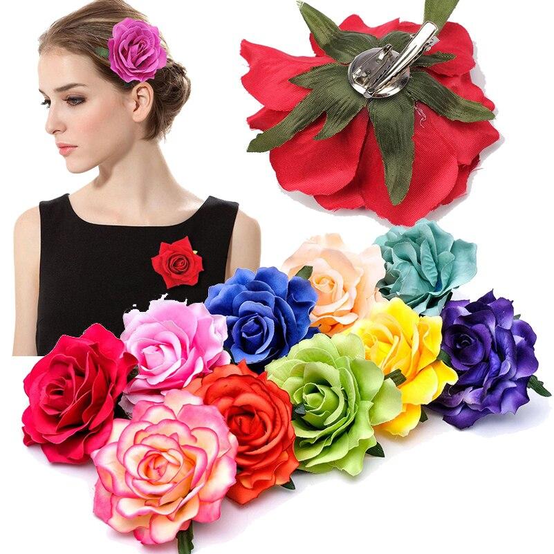 1PC Rose Artificial Flower Hair Clips for Women Wedding Party Bridal Brooch Hair Flower Hairpins Headwear Girls Hair Accessories