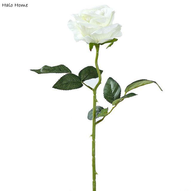 1 cabang Sutra Buatan Bunga Mawar Putih Untuk Festival Perayaan Pesta  Pernikahan Taman tempat Umum Dekorasi bbc2e4009a