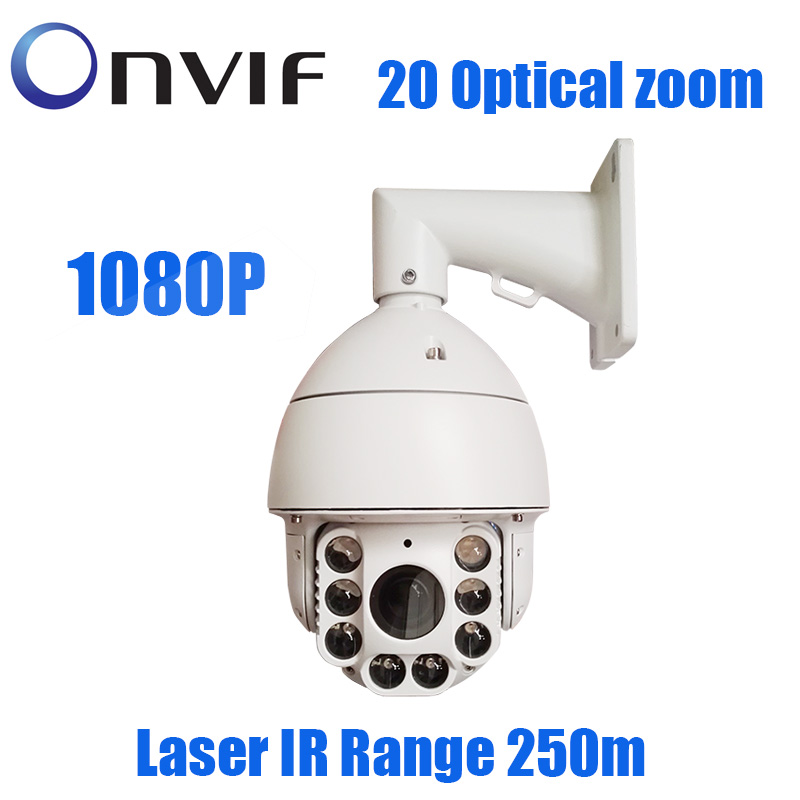 2.0MP 1080P IP PTZ high speed dome 20X Zoom Outdoor 250m IR Laser Network IP Onvif Security cctv surveillance Camera 4 in 1 ir high speed dome camera ahd tvi cvi cvbs 1080p output ir night vision 150m ptz dome camera with wiper