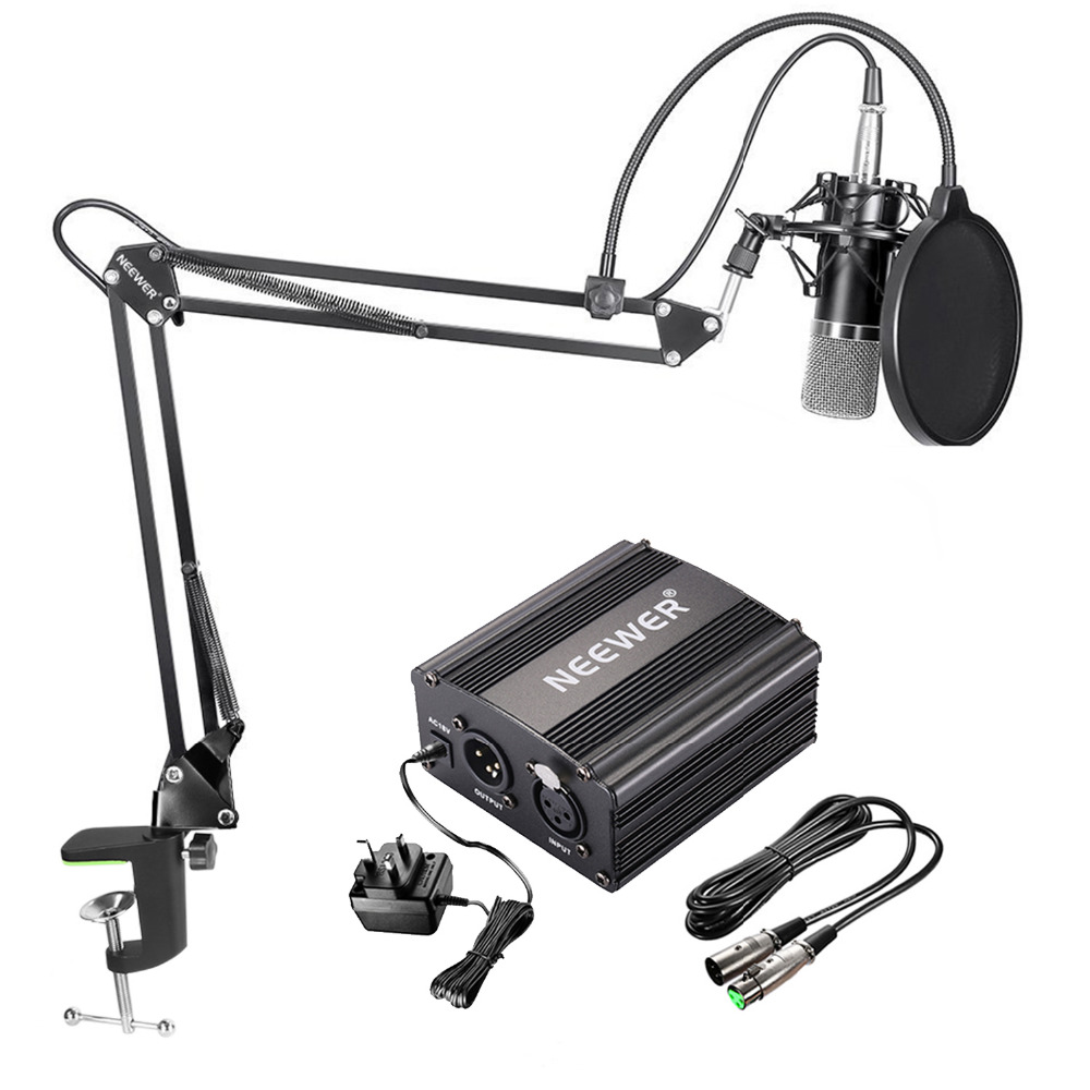 Neewer NW-700 Condenser Microphone Kit Black Mic Black 48V Phantom Power Supply for Home Studio Recording Arm Stand Shock Mount best quality yarmee multi functional condenser studio recording microphone xlr mic yr01