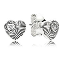 Fashion New 100% 925 Sterling Silver Vintage Branded Earrings For Women Crystal Heart Earring Studs Fine Europe Jewelry Original for 100% new original aeonmed china aeon 7200 a100d fetal heart detectors ultrasonic new original
