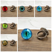 NEW Dragon Eye Photo Glass Cat Eye ring gift for send friend adjustable rings handmade(China)
