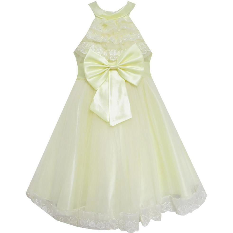 Flower Girl Dress A-line Round Collar Bow Tie Pleated Bodice Yellow 2018 Summer Princess Wedding Party Size 5-12Flower Girl Dress A-line Round Collar Bow Tie Pleated Bodice Yellow 2018 Summer Princess Wedding Party Size 5-12