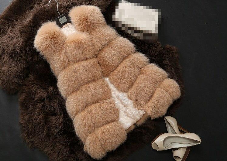 Новое поступление, зимний теплый модный длинный женский жилет из искусственного меха, пальто из искусственного меха, жилет из лисьего меха, женский жилет, большие размеры, S-4XL - Цвет: as picture