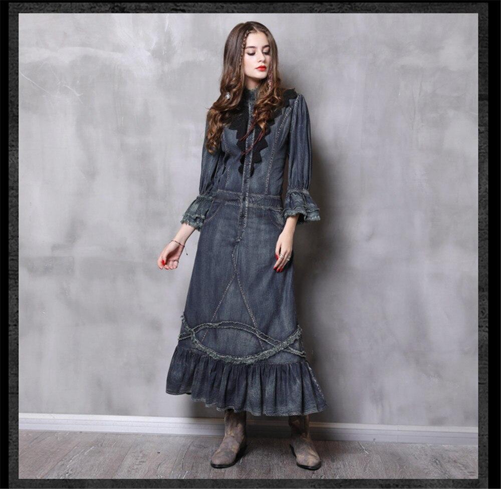 Vintage Autumn Dress Women With Pockets 2018 New Denim Dresses Stand Collar Long Elegant Lace Patchwork Vestidos Femininos (8)
