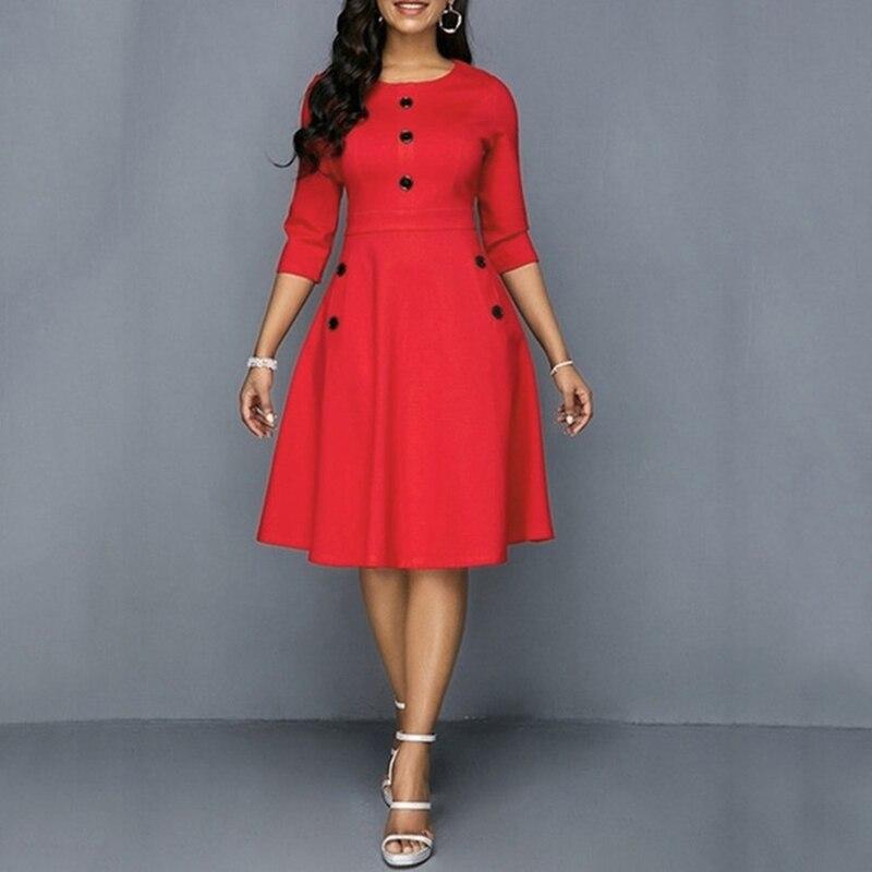 Frauen Elegante Kleid Tasten Rundhals 3/4 Hülse A-Line Retro Taille Gestaltung Mode Knie-Länge Kleid
