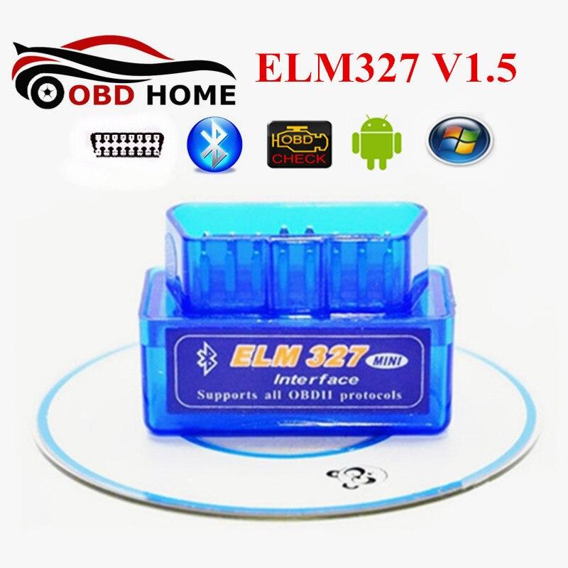 OBDII Adaptateur Super Mini ELM 327 Bluetooth V1.5 25K80 Puce Auto Scanner OBD2 ELM327 Mini Bluetooth Soutien OBDII protocoles