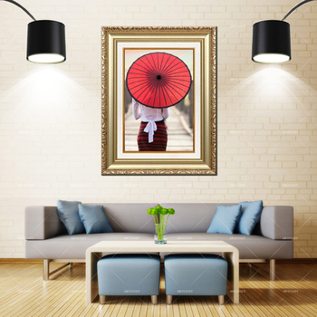 Artcozy Golden Frame Abstract Red Umbrella Girl Waterproof Canvas Painting