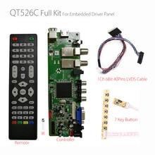 QT526C V1.3 Поддержка цифровой сигнал DVB-S2/T2/C ATV Универсальный ЖК-дисплей драйвер платы с двумя портами USB на русском языке T.S512.69 с 1ch 6bit 40 контакты
