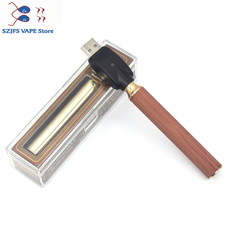 sub two BK batterey 650mah 900mah Vape Pen USB Charger Vape Battery Gold Wood 510 Wire Crystal Pack for CBD Thick Oil Cartridge in Electronic Cigarette Batteries from Consumer Electronics