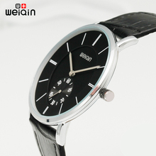 WEIQIN Mens Watches Brand Luxury Ultra Slim Quartz Watch Men 2017 Business Leather Band Relogio Masculino Fashion wristwatches