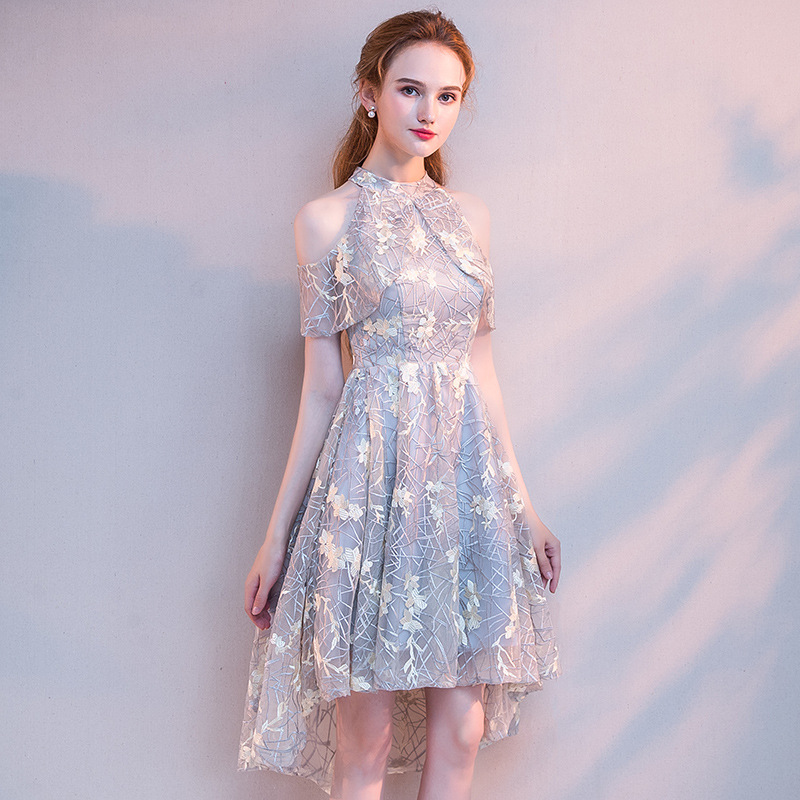 Gray Women Chinese Traditional Dress Party Lady Elegance Cheongsam For Wedding Vintage Bridesmaid Qipao Gown