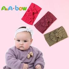 Solid Bow Baby Girl Headbands Soft Nylon Newborn Turban Children Head Wraps Bows New Drop Shipping
