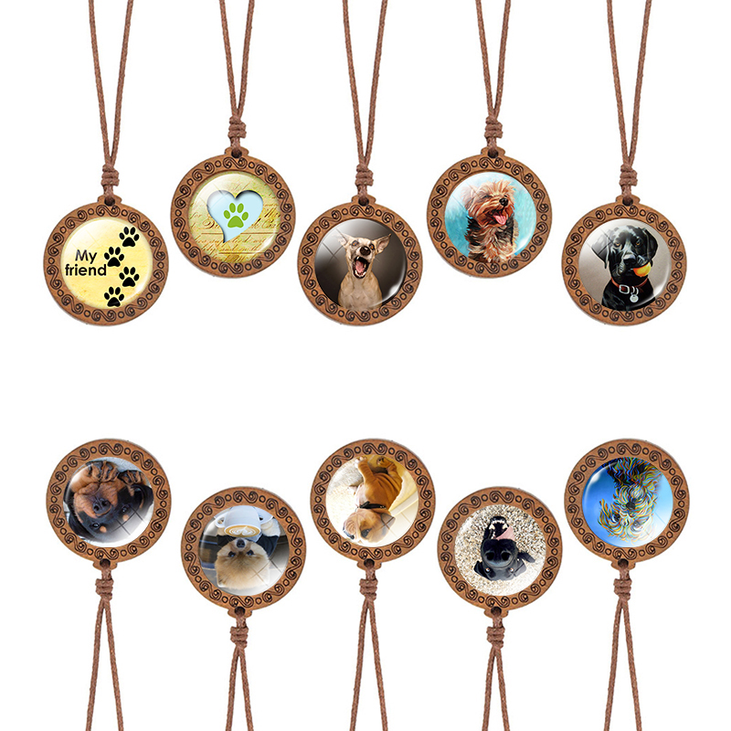 Dog Art Picture Glass Cabochon Necklace Paw Pendant Vintage Wooden Women Men Rope Pet Jewelry