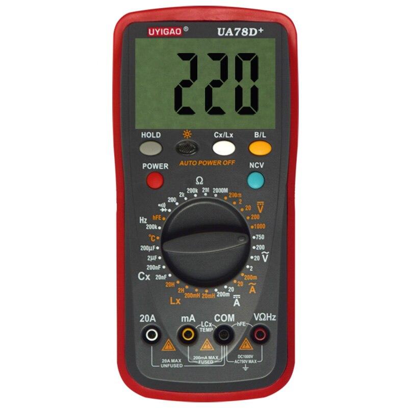 UYIGAO UA78D+ Digital Multimeter Resistance Capacitance Inductance LCR Multi Meter Tester with Backlight professional victor inductance capacitance lcr meter digital multimeter resistance meter vc6013