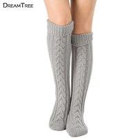 Dream Tree Socks Long Crochet Leg Warmers Stripping Melange Of Eight Long Knitting Ladies Boot Solid Long Socks 2017 New
