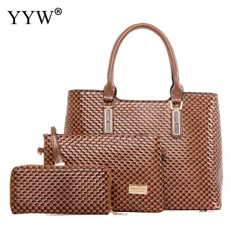 3 PCS/Set Diamond Pattern PU Leather Handbags Women Bag Set Casual Top-Handle Bag Lady's Famous Brands Clutch Bags Women's Pouch 4 pcs pebbles pattern bags set