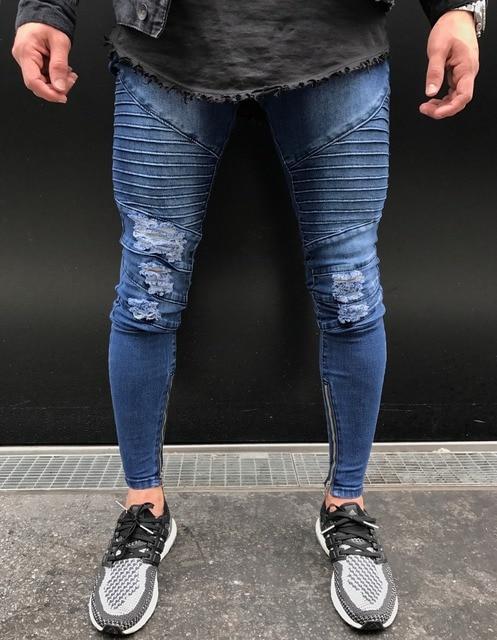 c7116ae4920f New Knee hole Ripped Men's Skinny jeans Hip Hop Bottom Zipper Stretch Denim  Pants Joggers biker motorcycle men blue jeans