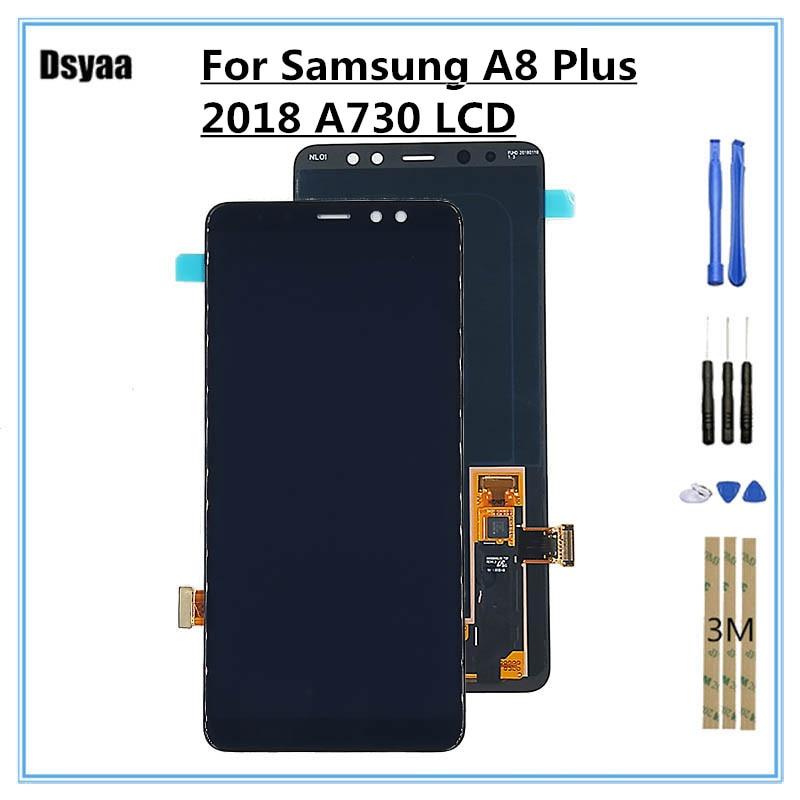 100% тестирование Дисплей для SAMSUNG для Galaxy A8 плюс 2018 A730 A730x ЖК-дисплей Сенсорный экран планшета Запчасти для авто 5,5 дюймов A730