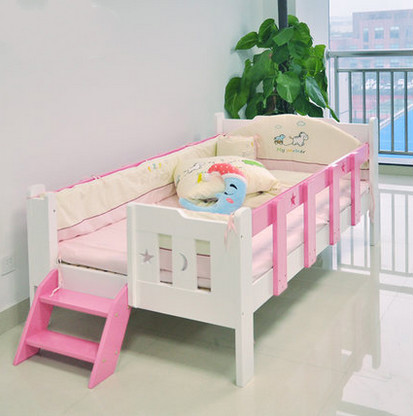 Solid wood crib single children bed with a fence white pink princess baby boys and girls high quality solid wood children bed lengthen widen baby wooden bed combine big bed child kids baby crib