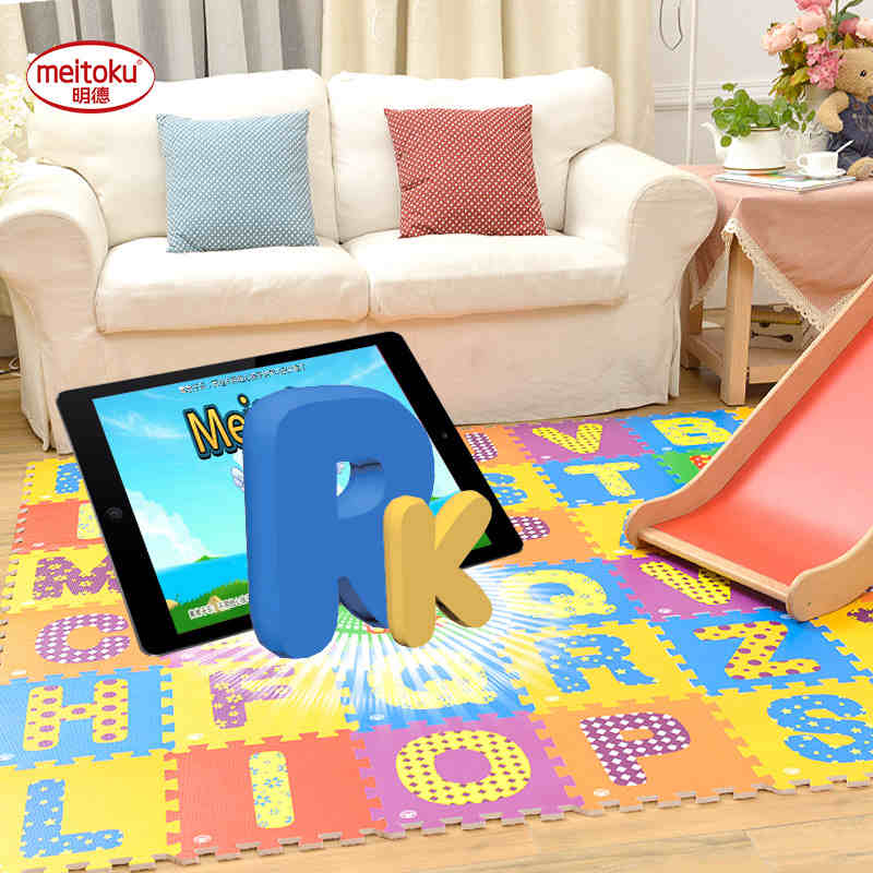 Meitoku AR Smart Baby play puzzle play mat,ABC 26pc/set children Interlocking protection floor tiles,rug and carpet, Each30*30cm 0 5cm double sided baby crawling play mat children puzzle pad kids rug gym soft floor game carpet toy eva foam developing mats