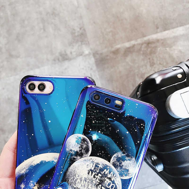 Чехлы для телефонов huawei P20 P30 mate 10 20 Pro Lite 20X Blue light планета Луна мягкий чехол для Honor 9 10 Nova 3 3i 4 back fundas
