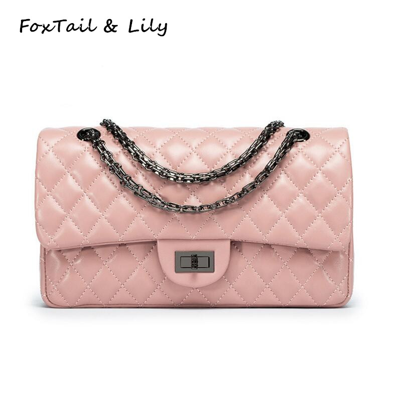 FoxTail & Lily Soft Sheepskin Fashion Quilted Chain Crossbody Bag Women Genuine Leather Shoulder Messenger Bags Luxury Handbags 2017 fashion all match retro split leather women bag top grade small shoulder bags multilayer mini chain women messenger bags