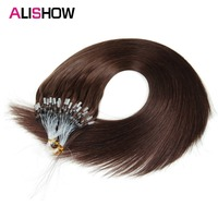 Alishow Micro Loop Nano Ring Hair Extensions 1g/s 50s/Pack 50g Straight Human Hair Fusion Remy Natural Hair Black Brown Blonde