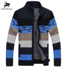 SAMHIBUGLE, брендовая одежда, кардиган,, зимний свитер, мужской, узор, в полоску, на молнии, плотное флисовое пальто, agasalho masculino