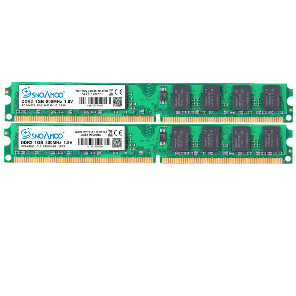 Купить с кэшбэком SNOAMOO Desktop PC RAMs DDR2 1G/2GB 667 PC2-5300s 800MHz PC2-6400S DIMM Non-ECC 240-Pin 1.8V For Intel Computer Memory Warranty