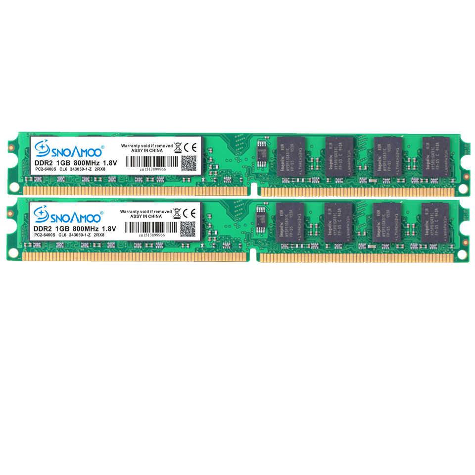 Snoamoo 데스크탑 pc ram ddr2 1g/2 gb 667 PC2-5300s 800 mhz PC2-6400S dimm 비 ecc 240 핀 1.8 v 인텔 컴퓨터 메모리 보증