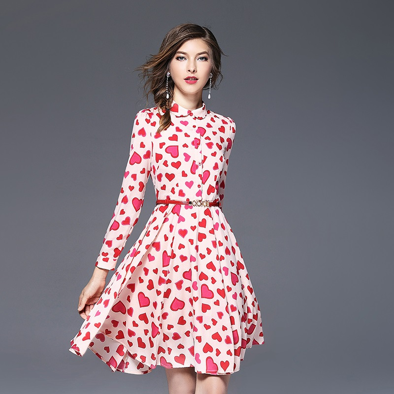 New Arrivals Women Dress Party Gowns Light Pink Color Chiffon Dresses with Heart Printing Sweet Ladies Clothes ssd026
