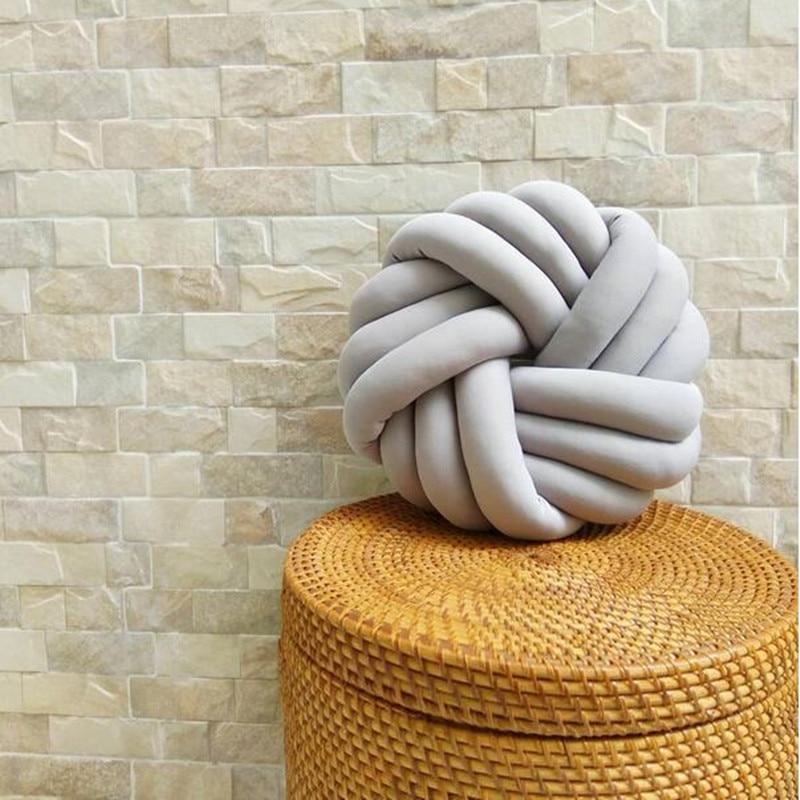 Lovely Velvet Knot Braided <font><b>Cushion</b></font> Ball Chunky Pillow Handmade Plush Knotted Throw <font><b>Home</b></font> Decor Modern Brief Decorative Pillow