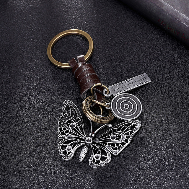 Beautiful butterfly suspension pendant metal leather keychain for girls Car keys