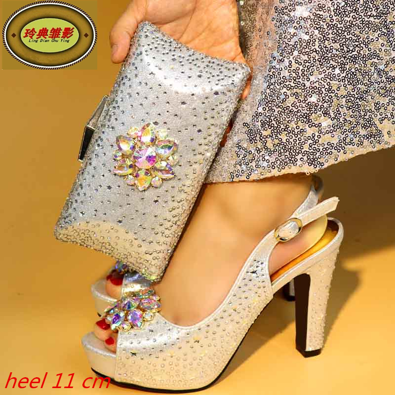 991 Silver  Beautiful Design Matching Shoes And Bag Set High Quality European Ladies Shoes And Bags Sets With Stone 505 7 1 silver beautiful design european ladies shoes and bags sets high quality italian shoes and bag set free shipping