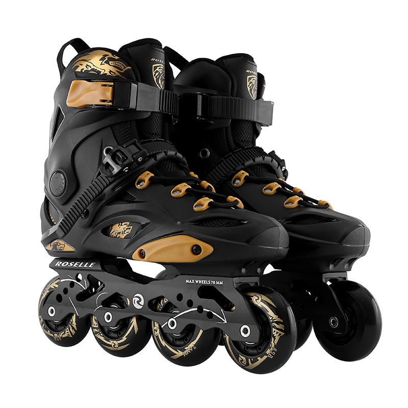 LK718 Single Row PU+TPR Roller Skates Gold Adult Skating Shoes Carbon Fiber Skating Shoes Men Women Roller Skates Patines girls and ladies favorite white roller skates with full grain genuine leather dual lane roller skate shoes for adult skating