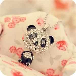 1 adet moda güzel emaye Rhinestone Panda kolye kolye kadınlar kristal aksesuarları kazak kolye takı