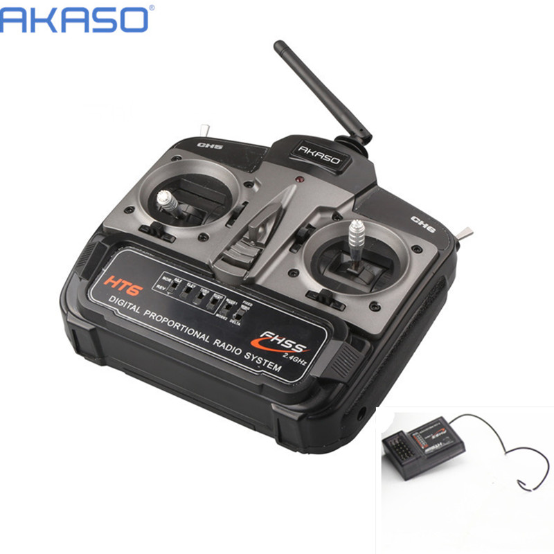 AKASO HT6 2 4G 6ch RC Transmitter Controller with HT6DR Receiver For RC Helicopter Plane Quadcopter