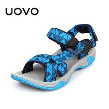 UOVO 2020 صنادل أطفال المفتوحة تو بنين الصنادل النسيج الأطفال الصنادل خفيفة الوزن وحيد ليتل بنين أحذية الصيف حجم #28 35