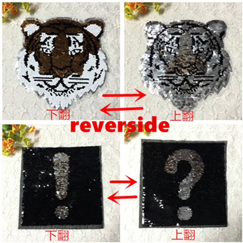 Reversible Sequins Exclamation Mark Change To Question Mark And Tiger Square Sew On Patches For Clothes Diy Patch Appliq GPD8275 ...