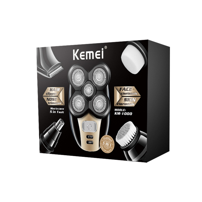 Купить с кэшбэком Kemei Multifunction 5 In 1 Electric Shaver 5 Blade Heads Razor Nose Ear Hair Beard Trimmer Washable bald cutting machine for Men