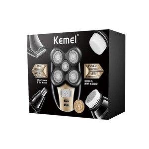 Image 3 - Kemei Afeitadora eléctrica multifunción 5 en 1 para hombre, afeitadora con 5 cabezales, afeitadora para nariz, oreja, pelo, Barba, máquina de corte calva lavable