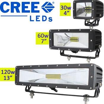 30w 60w 120w Rectangular Led Work Light Flood Barra Led Driving Light Bar 12v 24v Offroad Lamp Mining Truck 4x4 Off Road Atv Utv