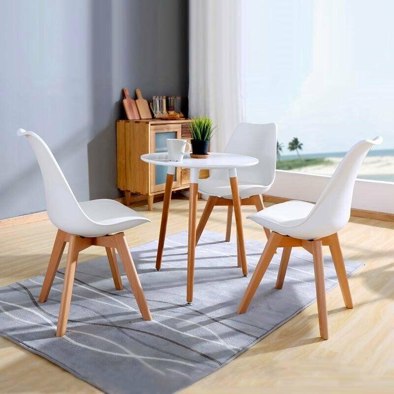 EGGREE lot de 4 chaise de salle à manger/bureau avec pieds en bois massif hêtre loisirs Bar chaise basse Design moderne pour salle de réception blanc - 2