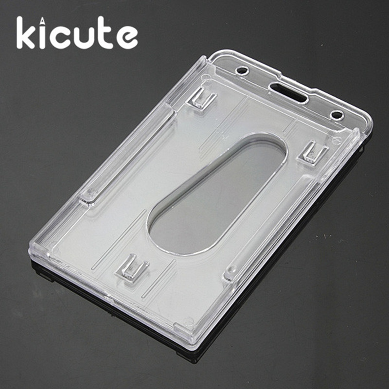 Kicute 2pcs Hot Sale Vertical Hard Transparent Plastic Badge Holder Double Card ID Bussiness Office School Stationery 10x6cm