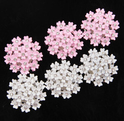 Nishine 5pcs/lot 25MM Flower Alloy Button Special Shiny Rhinestone Diamond Button Wedding Decorative Jewelry Diy Hair Accessory
