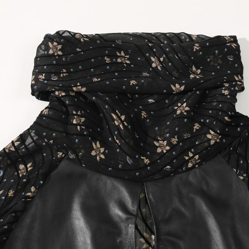 Printemps culture Mousseline Peau Black 2019 L'auto Femmes Top Cuir En Pile Floral Épissage De Mouton Nouveau Veste Sens Collier Soie daPPqS